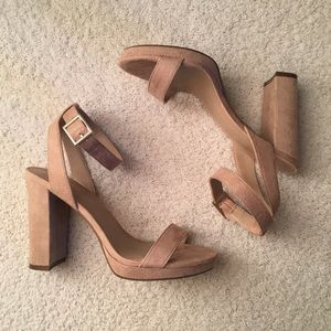 Mix No. 6 Platform Nude Sandals Ankle Strap Sz 6.5